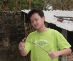 Enjoying his trip back to my mum's village in Enping, China.